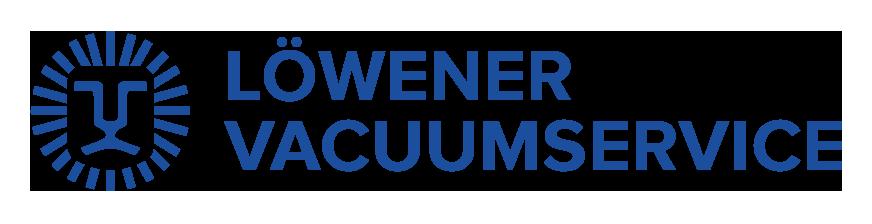 Ett stiliserat lejonansikte till vänster om texten Löweners Vacuumservice